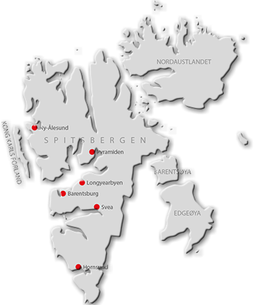 Map of Svalbard with an overview of places with population